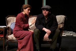 Kathryn Barrett-Gaines as Amanda and Robert Pike as Tom in Parlor Room Theater's production of Tennessee Williams' THE GLASS MENAGERIE