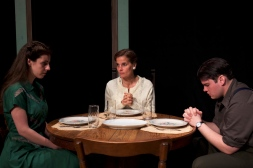 Amy Leigh Horan as Laura, Kathryn Barrett-Gaines as Amanda, and Robert Pike as Tom in Parlor Room Theater's production of Tennessee Williams' THE GLASS MENAGERIE