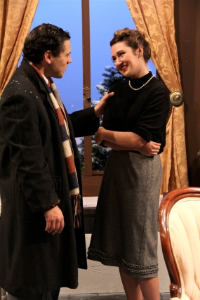 "Thomas DiSalvo as Giles and MaryBeth Kerley as Mollie in Parlor Room Theater's production of Agatha Christie's ""The Mousetrap."" Photo by Meagan C. Beach."