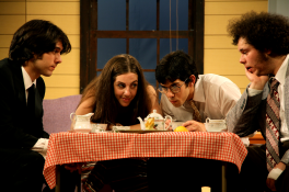 Frank DiSalvo as Axel, Amy Horan as Tansy, Dillon DiSalvo as Rick, and Thomas DiSalvo as Willum in Parlor Room Theater's production of The Nerd by Larry Shue, running through August 3rd in Forestville. Photo by Meagan C. Beach