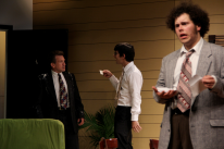 Herb Poe as Waldgrave, Dillon DiSalvo as Rick, and Thomas DiSalvo as Willum in Parlor Room Theater's production of The Nerd by Larry Shue, running through August 3. Photo by Meagan C. Beach.