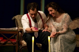 Thomas DiSalvo as Jim and Amy Leigh Horan as Laura in Parlor Room Theater's production of Tennessee Williams' THE GLASS MENAGERIE