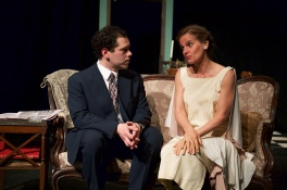 Thomas DiSalvo as Jim and Kathryn Barrett-Gaines as Amanda in Parlor Room Theater's production of Tennessee Williams' THE GLASS MENAGERIE